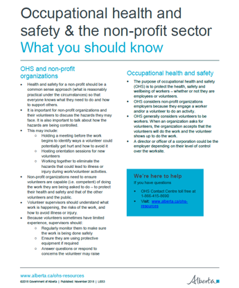 Picture of Occupational health and safety & the non-profit sector