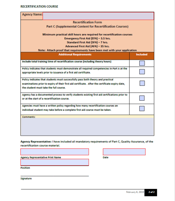Picture of Workplace first aid approval: Recertification Form
