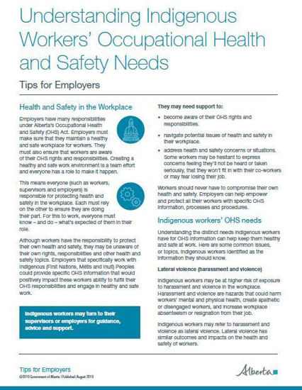 Picture of Understanding Indigenous Workers' Occupational Health and Safety Needs: Tips for Employers