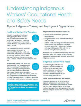 Picture of Understanding Indigenous Workers' Occupational Health and Safety Needs: Tips for Indigenous training and employment organizations