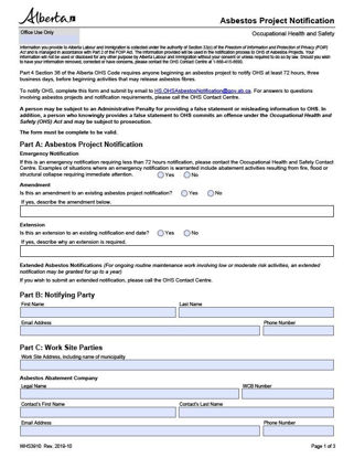 Picture of Asbestos Project Notification form
