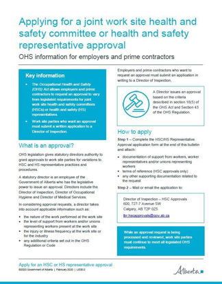 Picture of Applying for a joint work site health and safety committee or health and safety representative approval