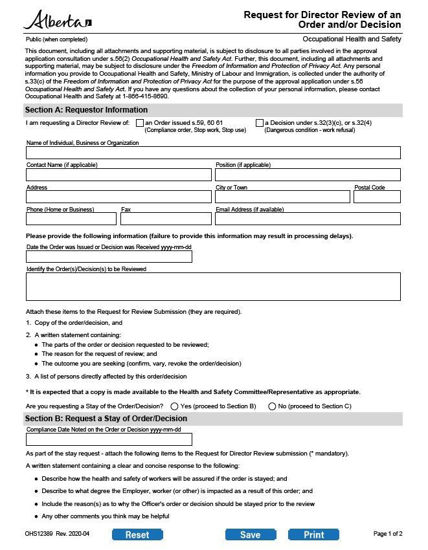 Picture of Request for Director review of an occupational health and safety officer's order or decision:  form