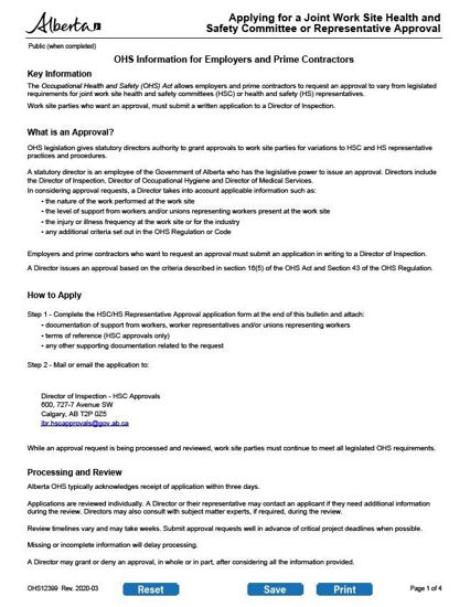 Picture of Joint work site health and safety committee or representative approval form