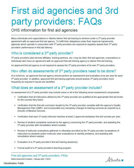 Picture of First Aid Agencies and Third Party Providers