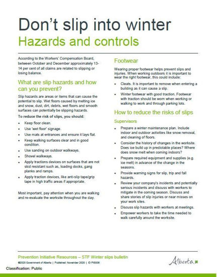 Picture of Don't slip into winter 1: Hazards and controls