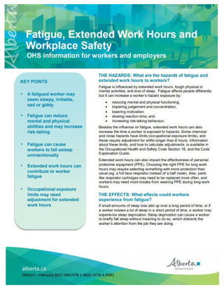 Picture of Fatigue, Extended Work Hours and Workplace Safety