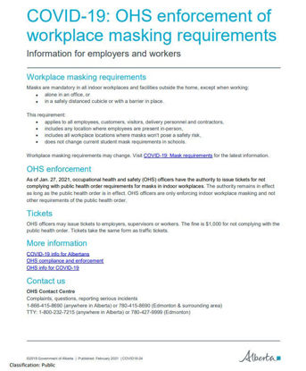 Picture of COVID-19: OHS enforcement of workplace masking requirements