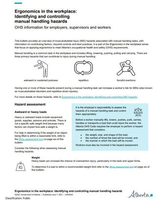 Picture of Ergonomics in the workplace:  Identifying and controlling  manual handling hazards