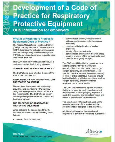 Picture of Respiratory protective equipment:  Code of practice development