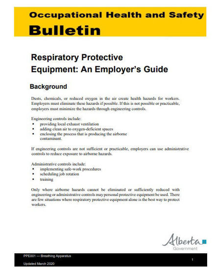 Picture of Respiratory Protective Equipment: An Employer's Guide